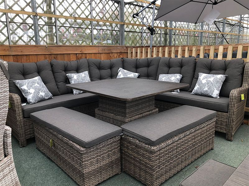 Larne Cappuccino Rattan Corner Sofa Set, Weatherproof Outdoor Furniture