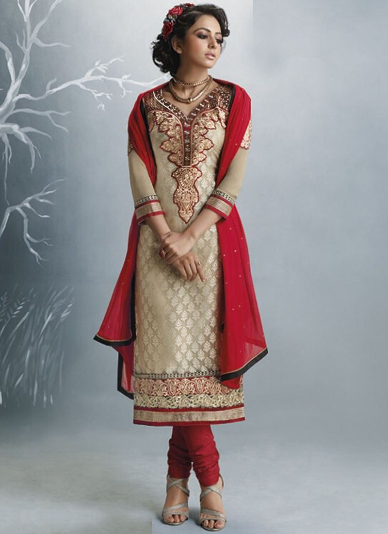 Cream & Red Wedding Wear Wholesale Salwar Suit For this Mother\'s Day ...