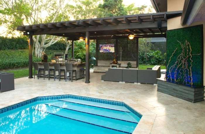 Incredible backyard design with pool Example Design Outdoor Kitchen