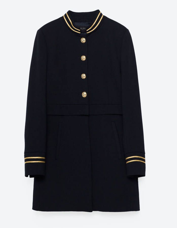Manteau classique ZARA Manteau militaire a bouton doré en