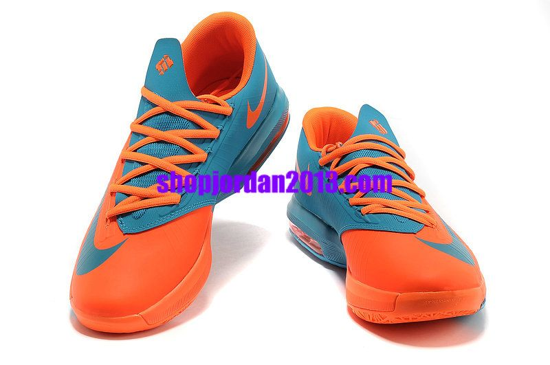 wholesale dealer af1ae ad2d8 Nike Zoom KD 6(VI) Shoes Peacock BlueTeam Orange Kevin Durant Shoes