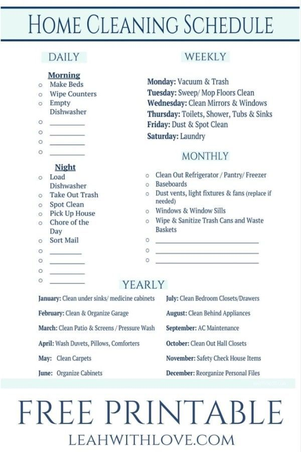 FREE PRINTABLE Cleaning Schedule Spring Organizing Checklist