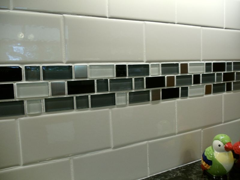 Backsplash subway tile with mosaic tile- exactly what I\'m thinking ...