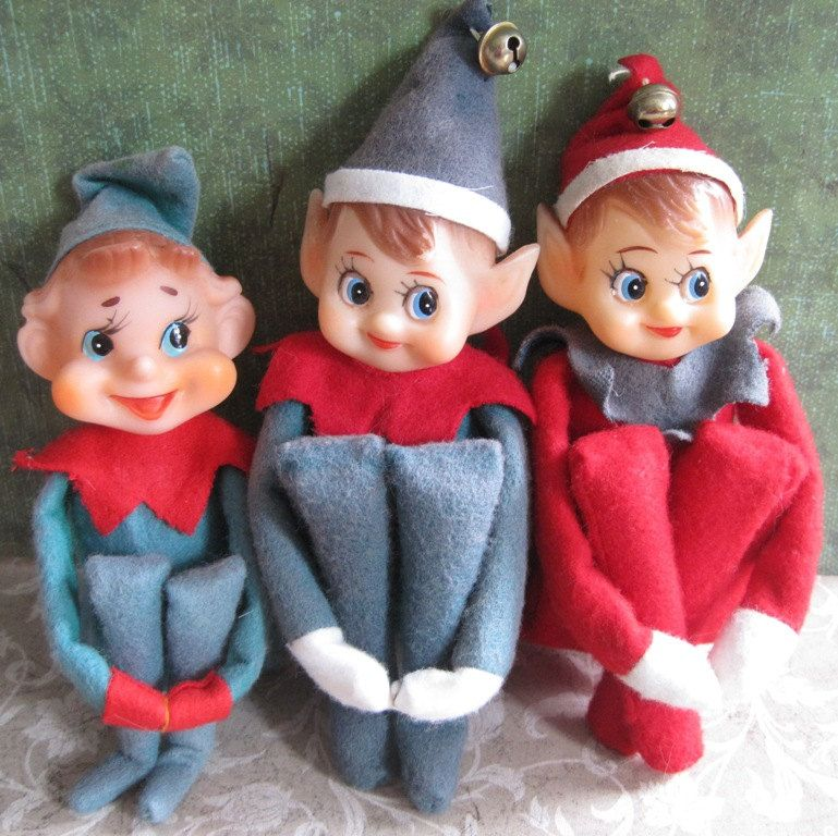 Trio of felt elves, 3 time the Christmas kitsch! | Christmas ...
