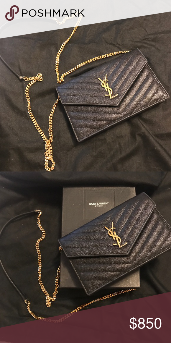 4ec209ca YSL WOC ✨ MONOGRAM ENVELOPE CHAIN WALLET IN BLACK GRAIN DE POUDRE ...