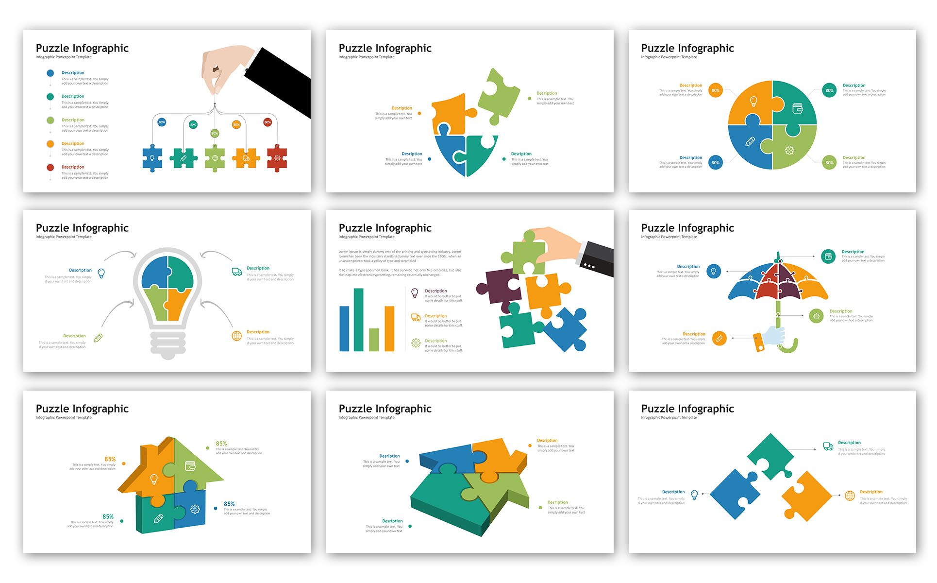 Puzzle Presentation - Infographic PowerPoint Template #73641