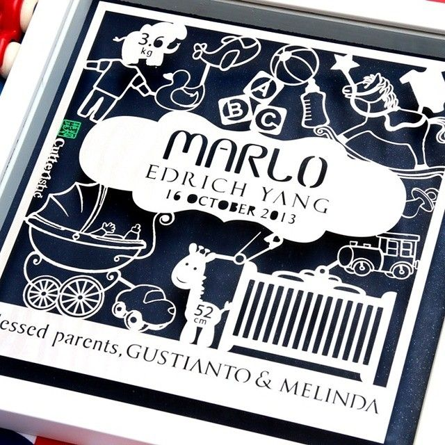Baby Announcement Gift for newborn. Personalized with baby details, available for boys and girls  #papercutting #paperart #paperartist #papercut #babyannouncement #babygift #hadiahlucu #hadiahunik #kadounik #kadobayi