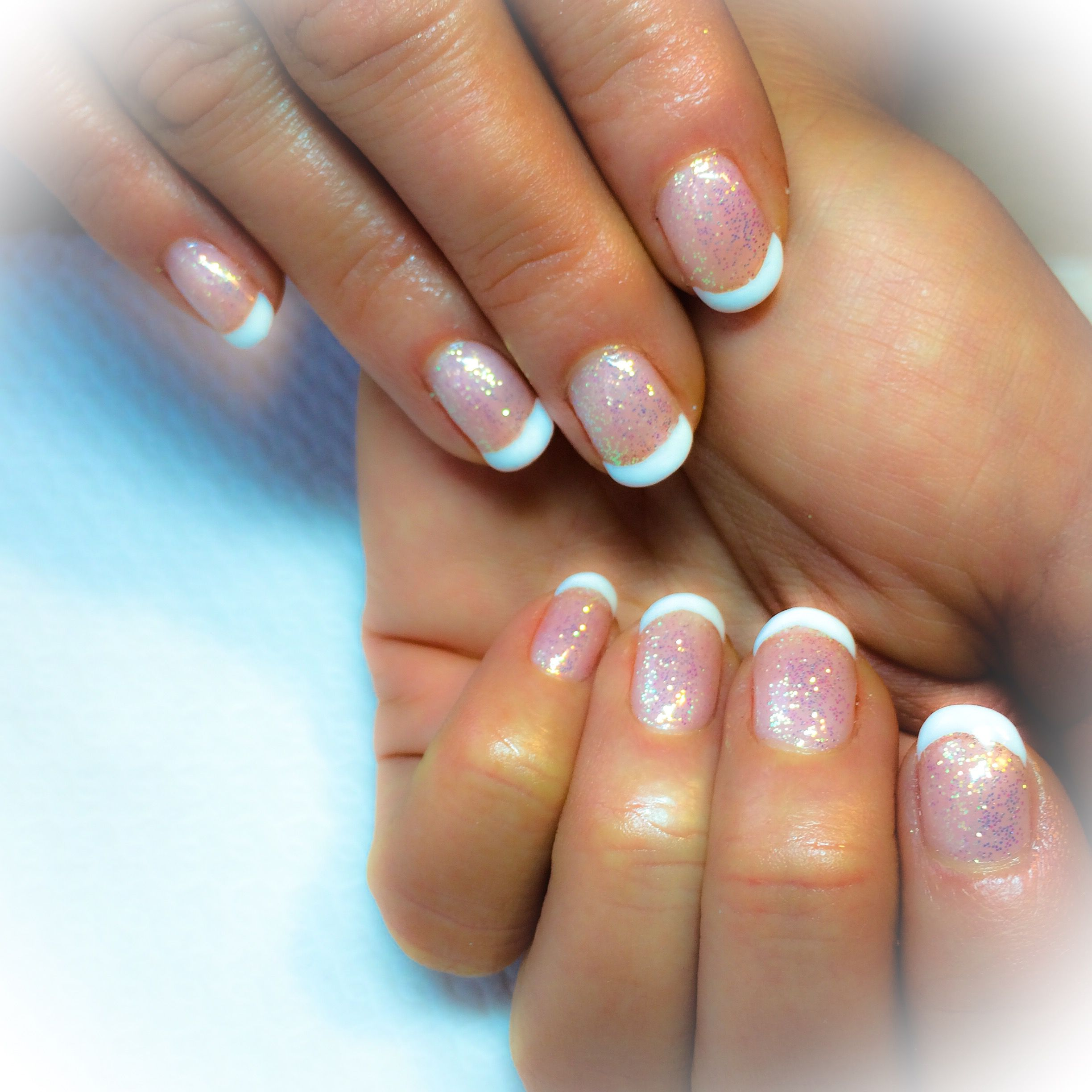 Cnd Shellac Clearly pink and cream puff french manicure with lecente ...