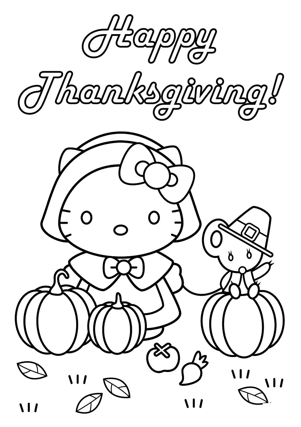 Printable Thanksgiving Coloring Pages Hello Kitty Hello Kitty