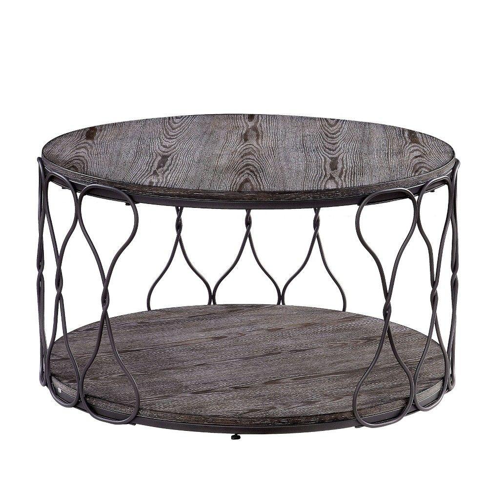 Ballou Rustic Bohemian Coffee Table Metal Wood Gray Sun Pine
