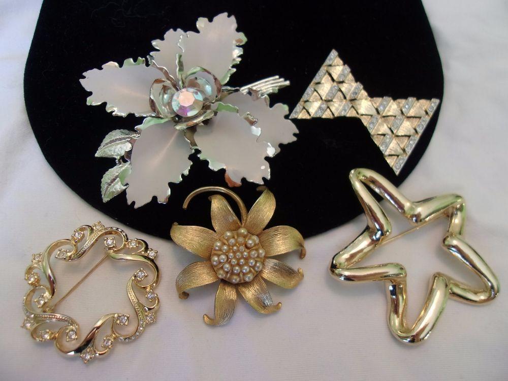 Flower Brooch Pin Vintage Glass Rhinestone Pearl Enamel Gold Silver Plate Lot #Unbranded
