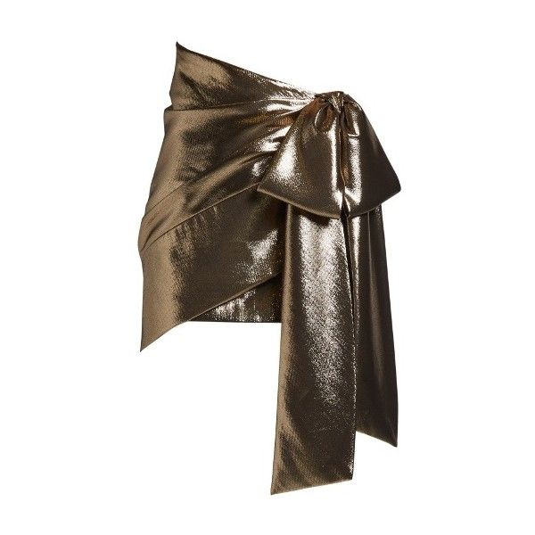 Saint Laurent Tie-side ruched lamé mini skirt (€1.770) ❤ liked on Polyvore featuring skirts, mini skirts, gold, yves saint laurent, shirred skirts, short skirts, ruched skirt and gathered skirt