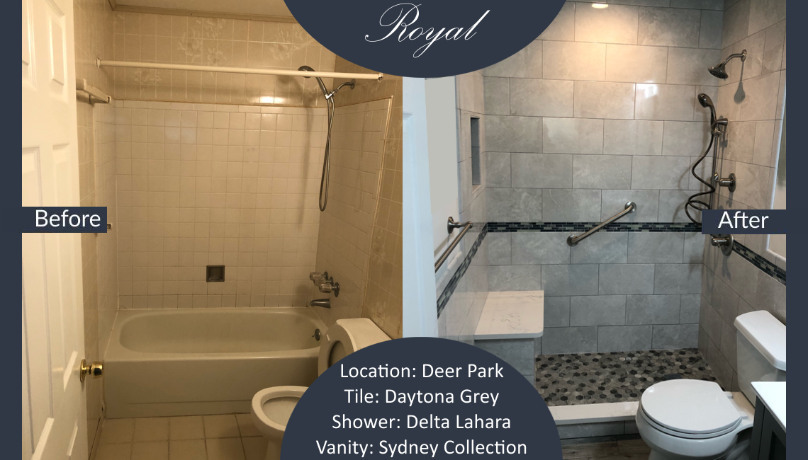 This bathroom remodel was performed in Deer Park NY. It ...