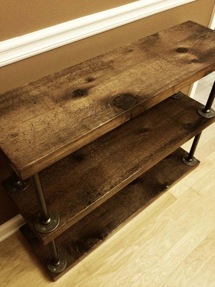Industrial rustic bookshelf cedar wood and super simple for Diy industrial bookshelf