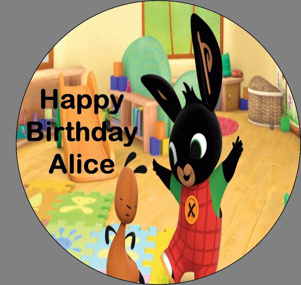 Bing Bunny 7 inch Edible Round Cake Topper Birthday ...