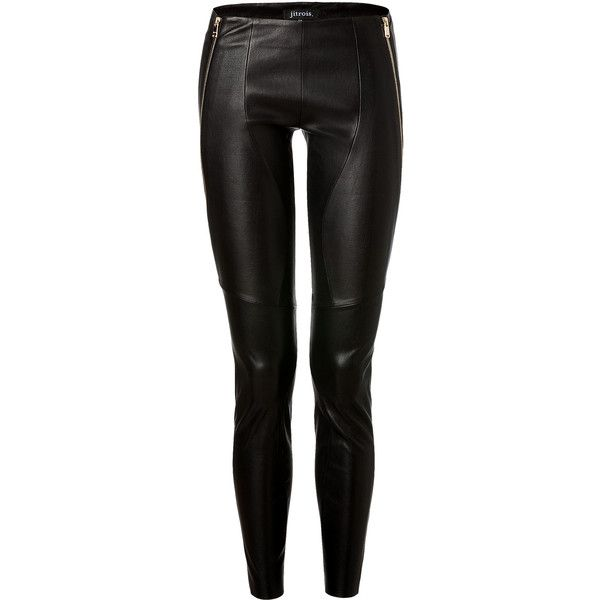 JITROIS Black Leather Pants With Zips (£1,913) ❤ liked on Polyvore  featuring pants