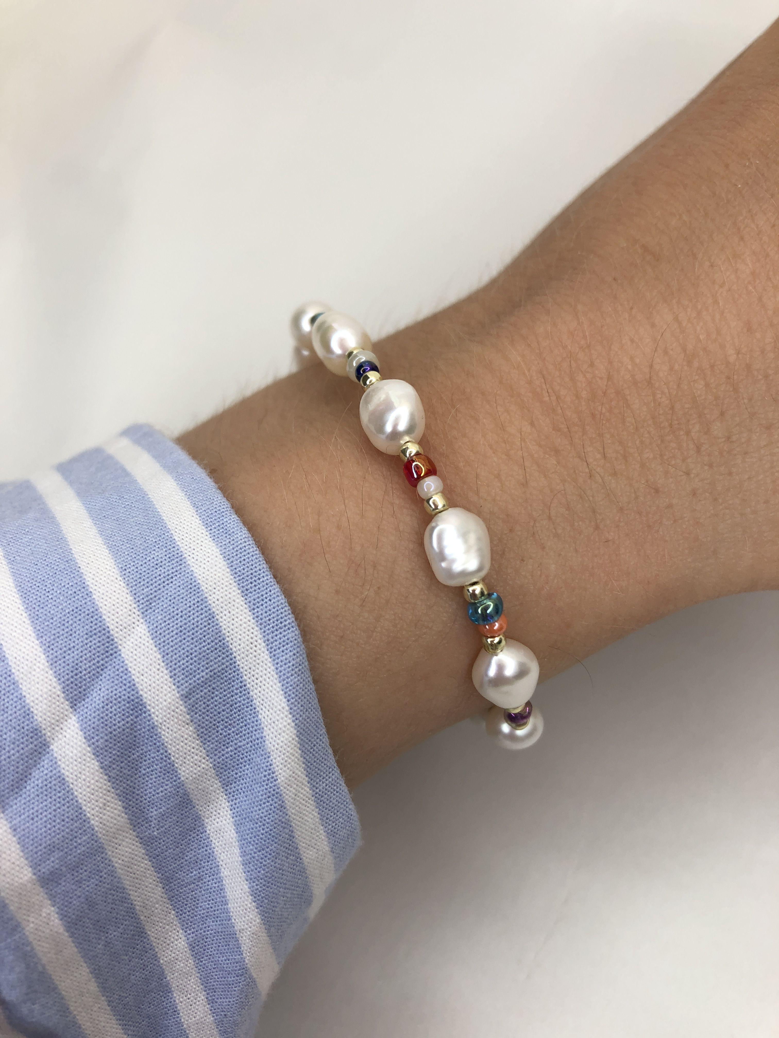 pearl beaded bracelet, rainbow beads and pearl bra