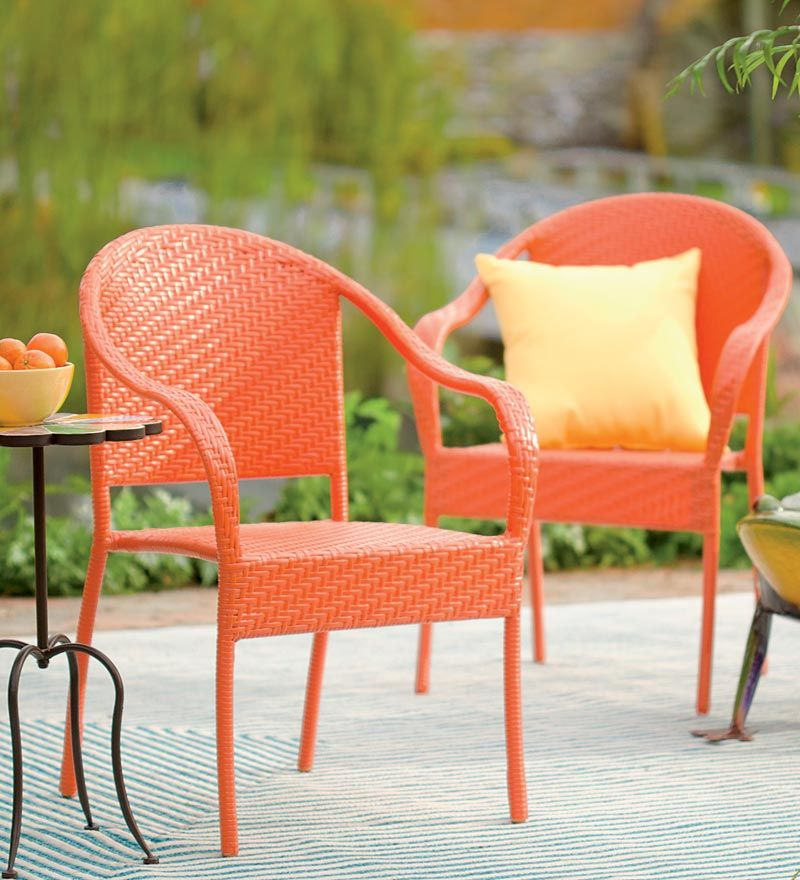 Stackable Outdoor Wicker Chair In All The Colors Of A Tuscan Summer  Afternoon! Orange, Red, Yellow And More! Plow And Hearth