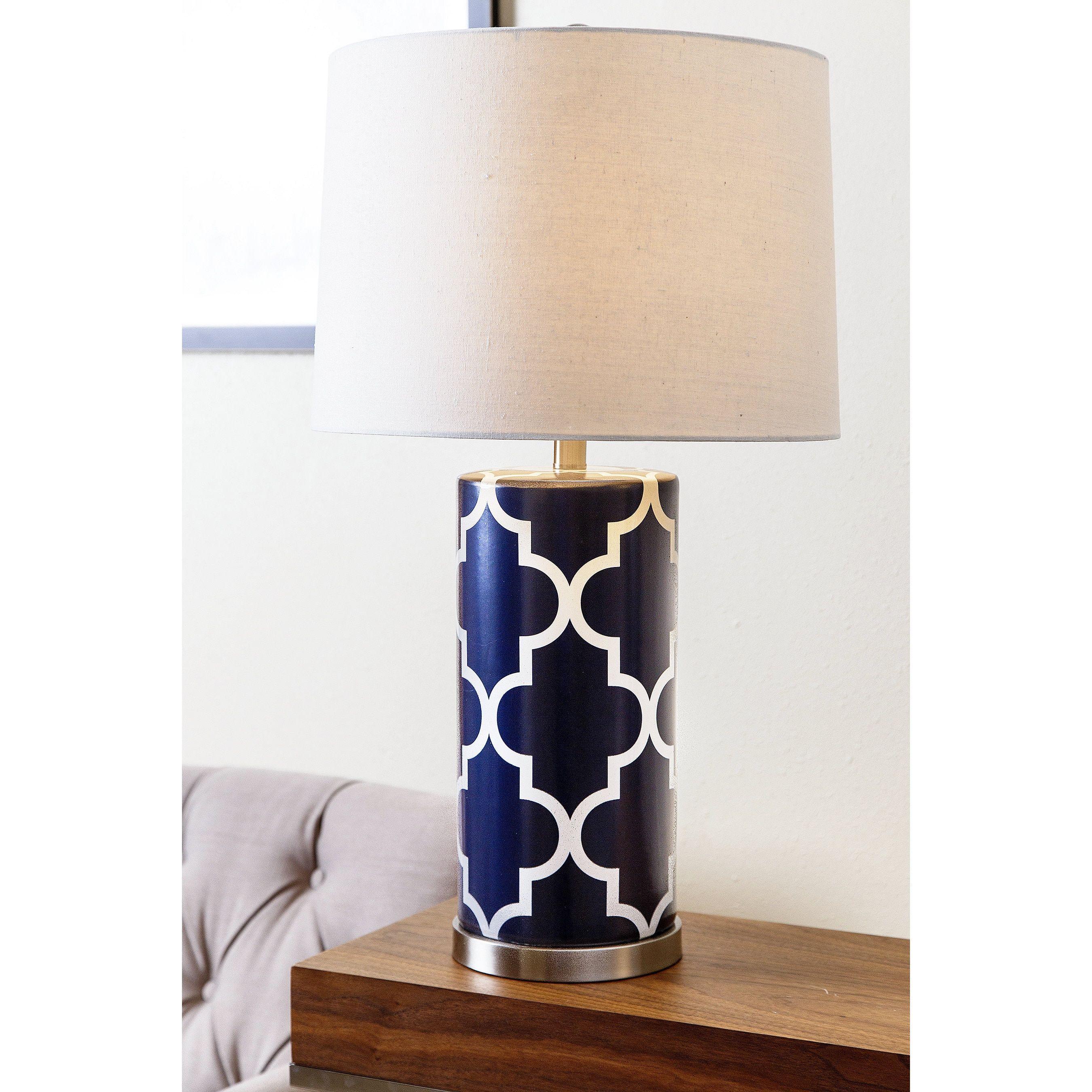 Abbyson Madison Navy Blue Lattice Table Lamp Blue Porcelain
