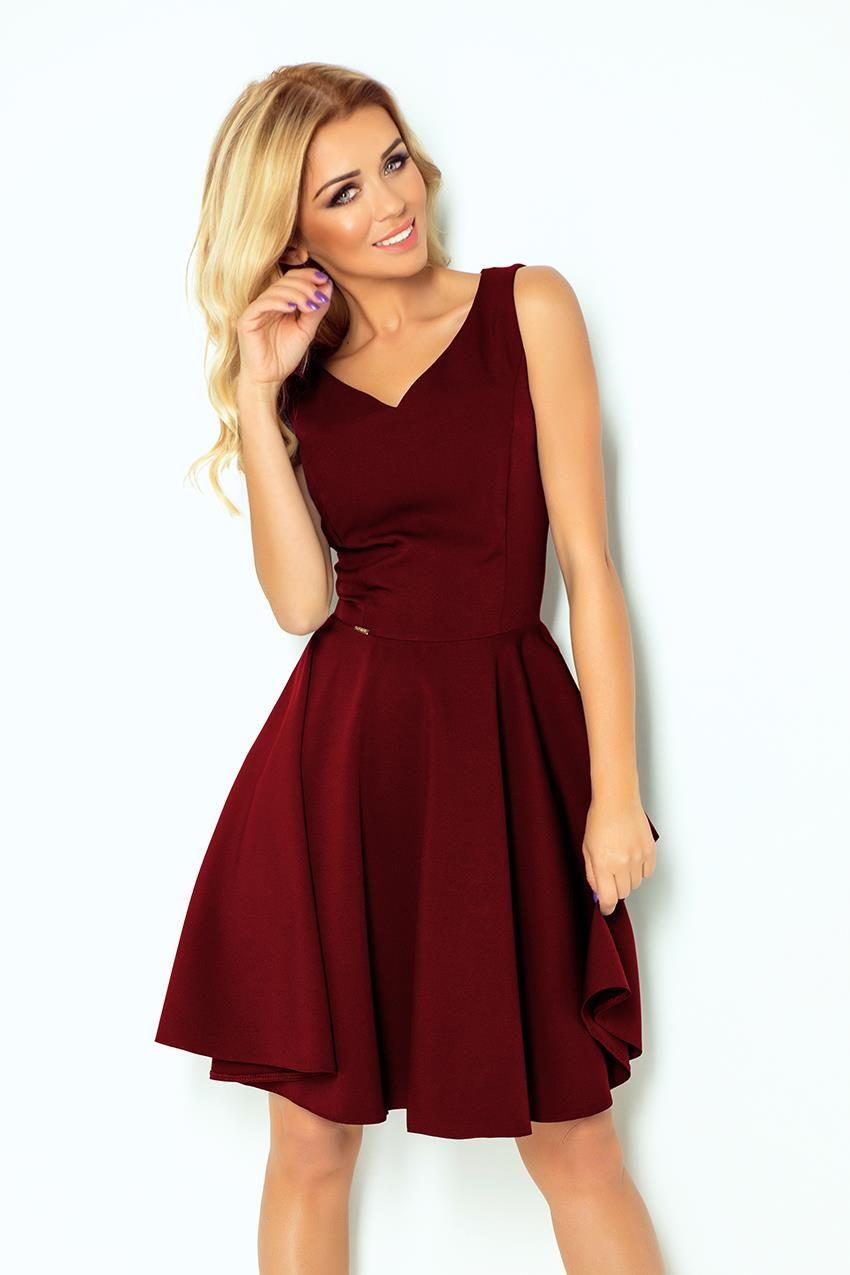 Sukienka Z Kola Bordowa Nu114 11 Maroon Dress Flare Dress Model Dress