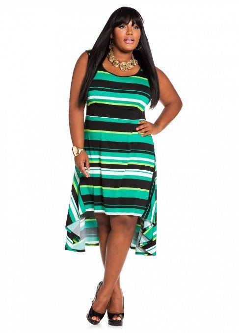 097ec24e4cb Amazon.com  Ashley Stewart Womens Plus Size Web Exclusive  Striped Hi-lo  Dress  Clothing