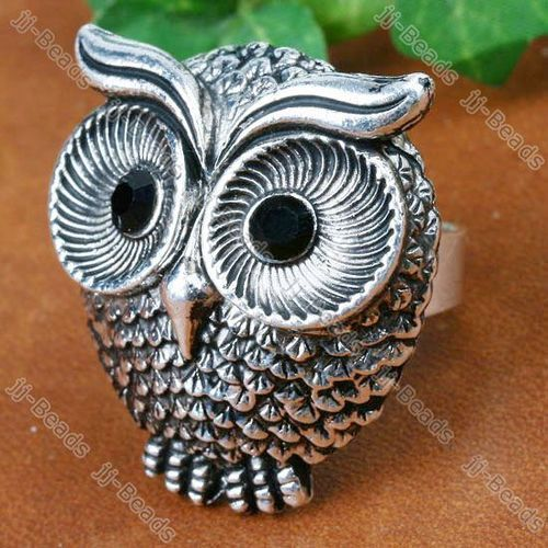 Grey Crystal Glass Owl Adjustable Cocktail Ring
