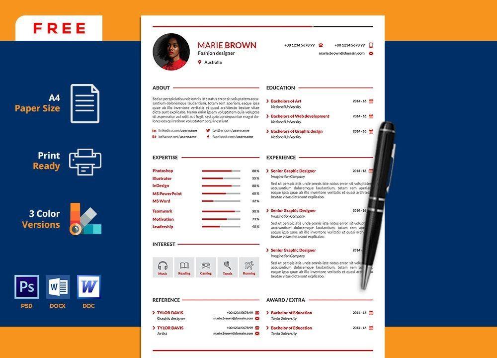Free Portfolio Cv Resume Template In Word Resumekraft Microsoft Word Resume Template Microsoft Word Free Cv Template