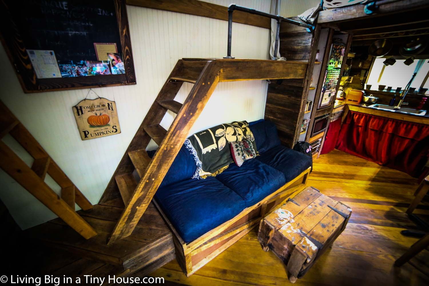 Delightful Latter Catwalk Over Couch Leads To Bedroom Loft And Work Loft. Tiny Houses  CostTiny ...