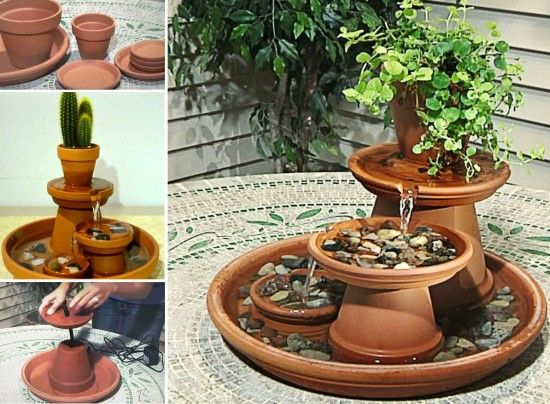 Diy terracotta tabletop fountain project for outdoors for Homemade tabletop water fountain