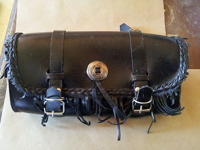 """13"""" x 6"""" x 4"""" Classic Black Leather Motorcycle Tool Bag with Fringe Studs 
