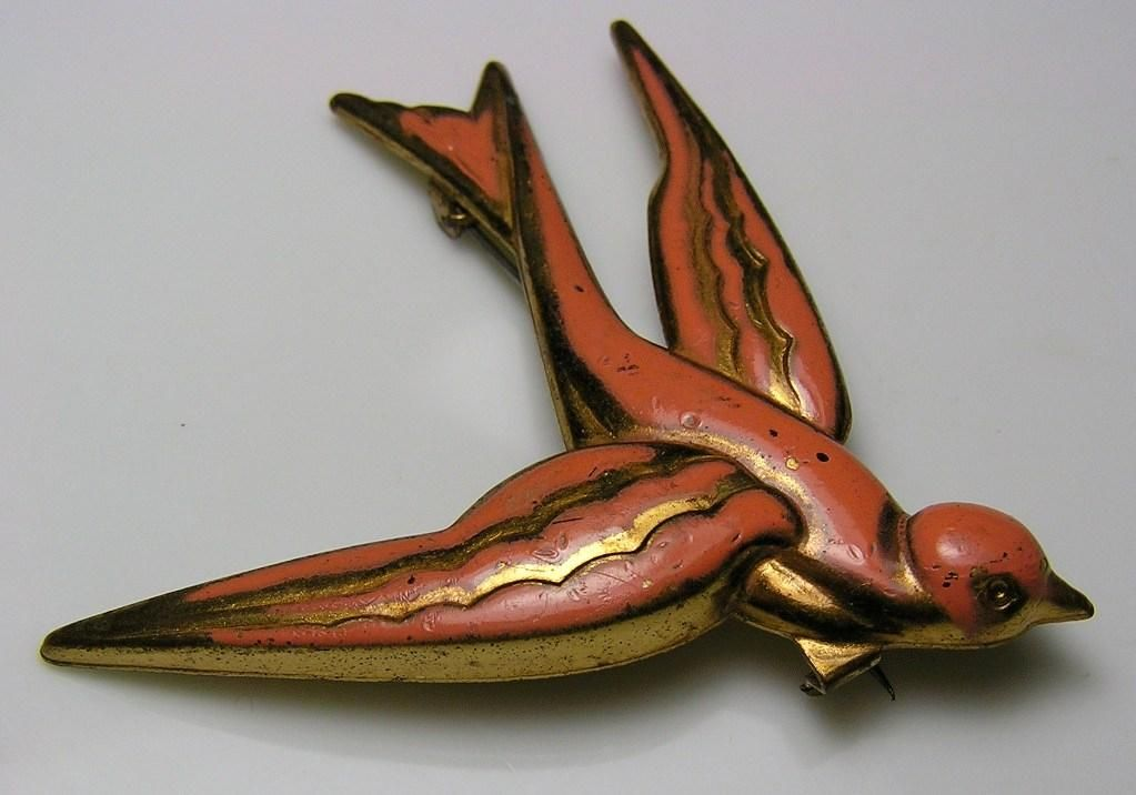 Antique Deco bird pin