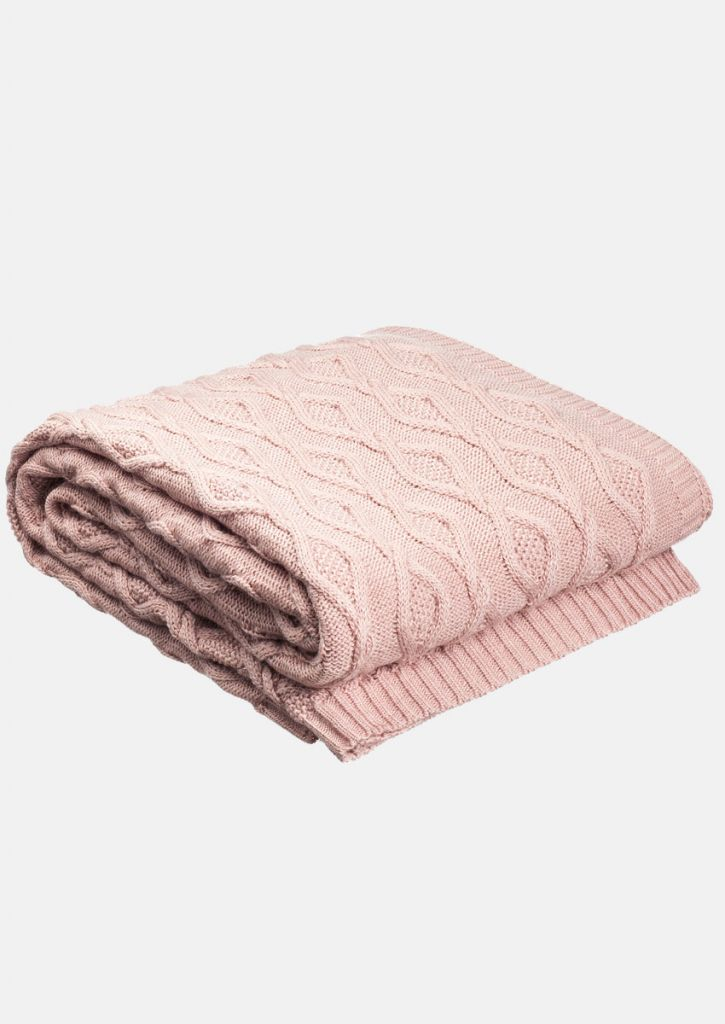 Aran knit throw blanket 150x200 pink size m color