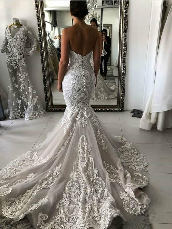 Photo of Sexy Mermaid Ivory Lace Appliques Backless Wedding Dresses Bridal Gowns W1011