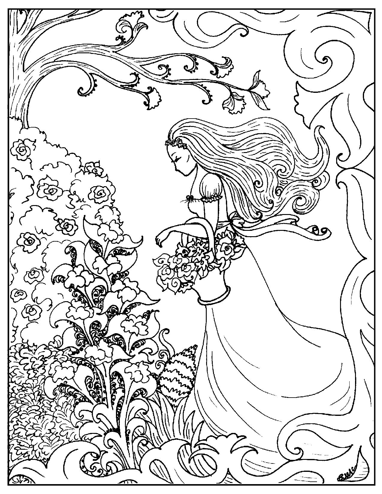 Art nouveau coloring page flower girl id 73840 : Uncategorized ...