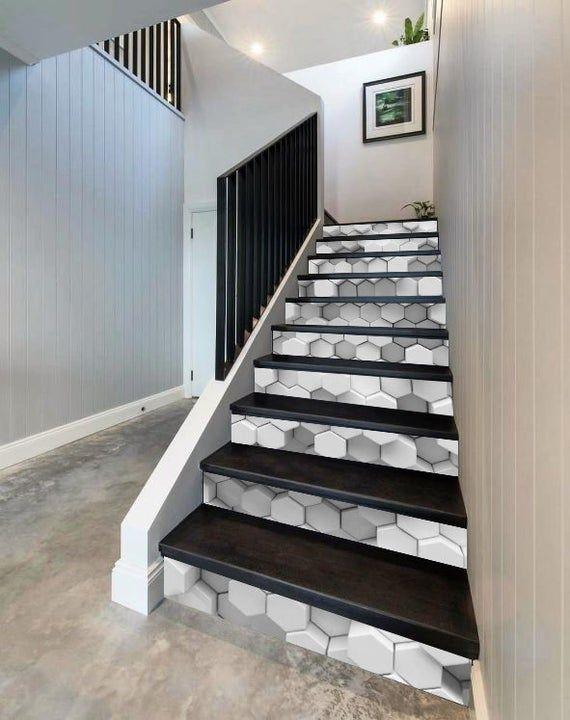 3d Gray White Honeycombs Brick Wall Stairway Decoration Etsy Stairways Stair Risers Brick Wall