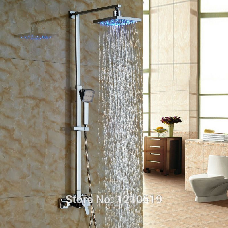 Newly LED Color Changing Shower Faucet Set w/ Handheld Shower Chrome ...