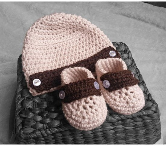 Handmade Baby hat and booties khaki 29 colors, newsboy, crochet hat, infant loafers, baby shoes, $21.99
