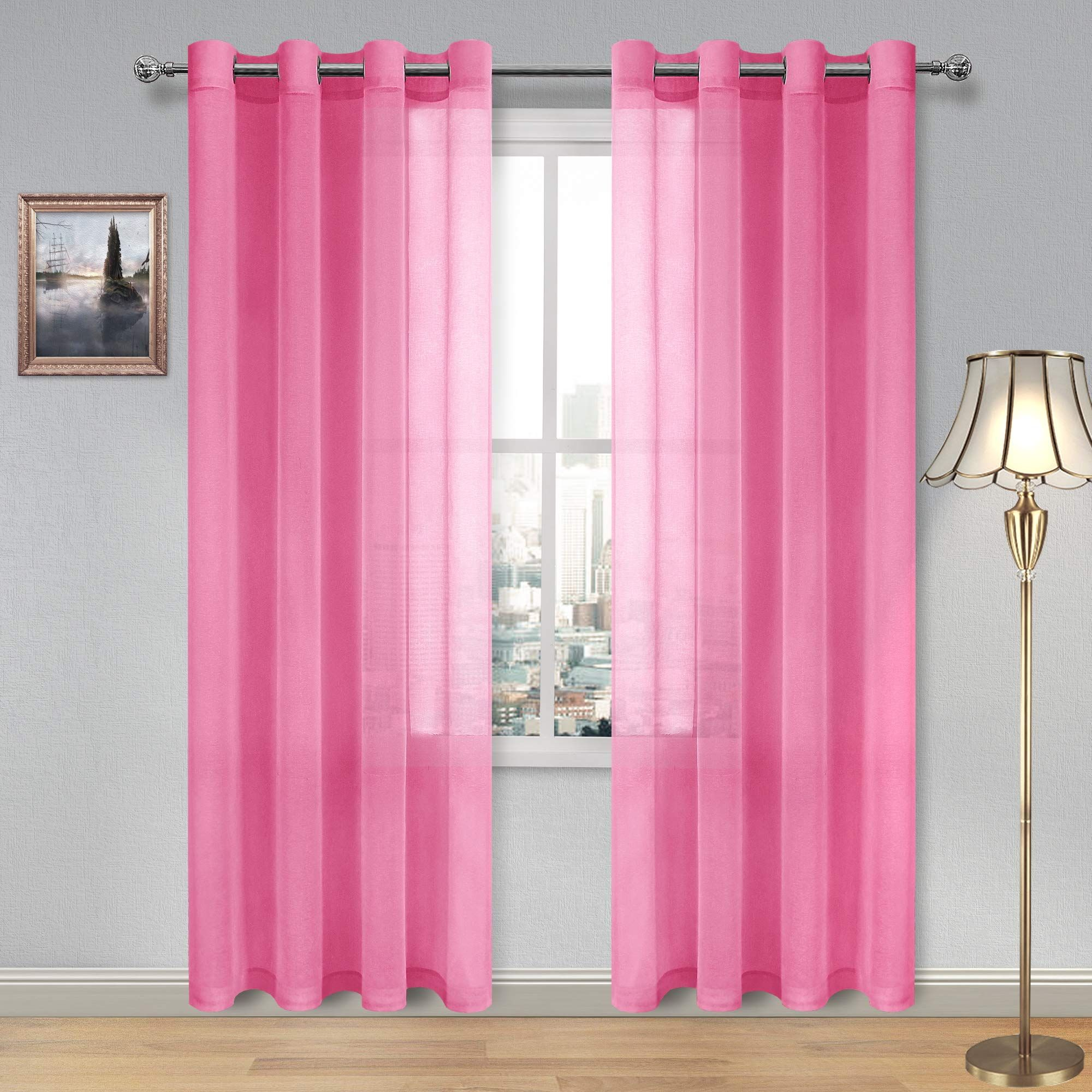 Dwcn Sheer Curtains Grommet Living Room Curtains Linen Look Hot