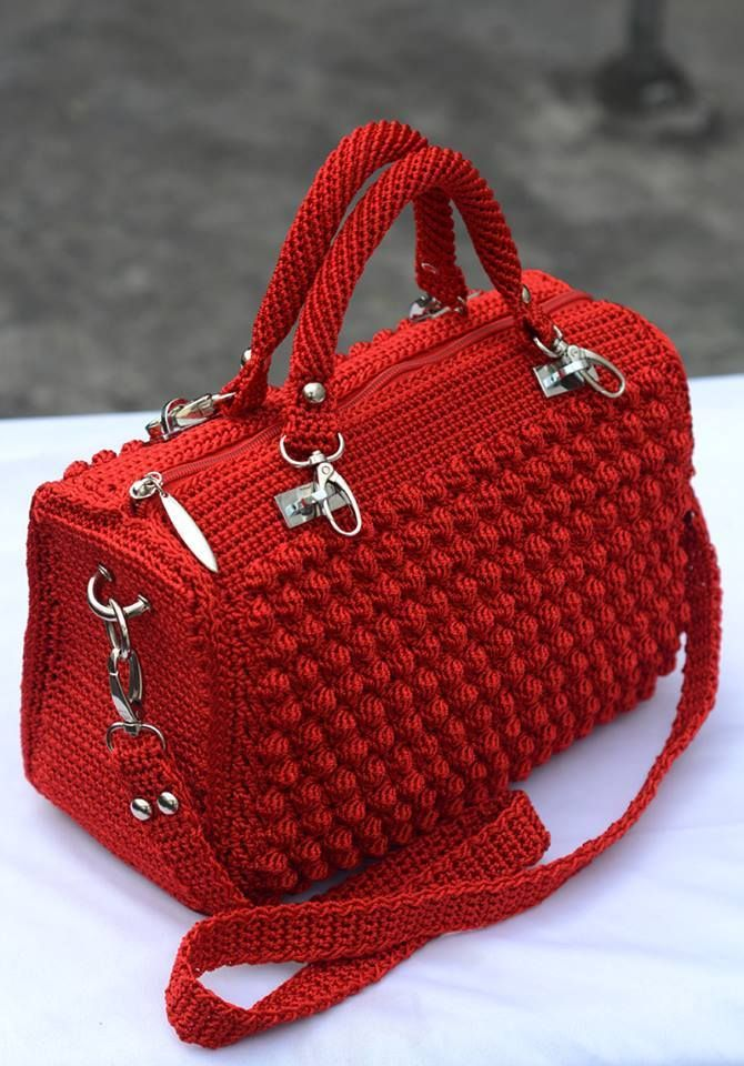 33fc2c411 Red Bobble Stitch Hand Bag | bolso | Crochet handbags, Free crochet ...