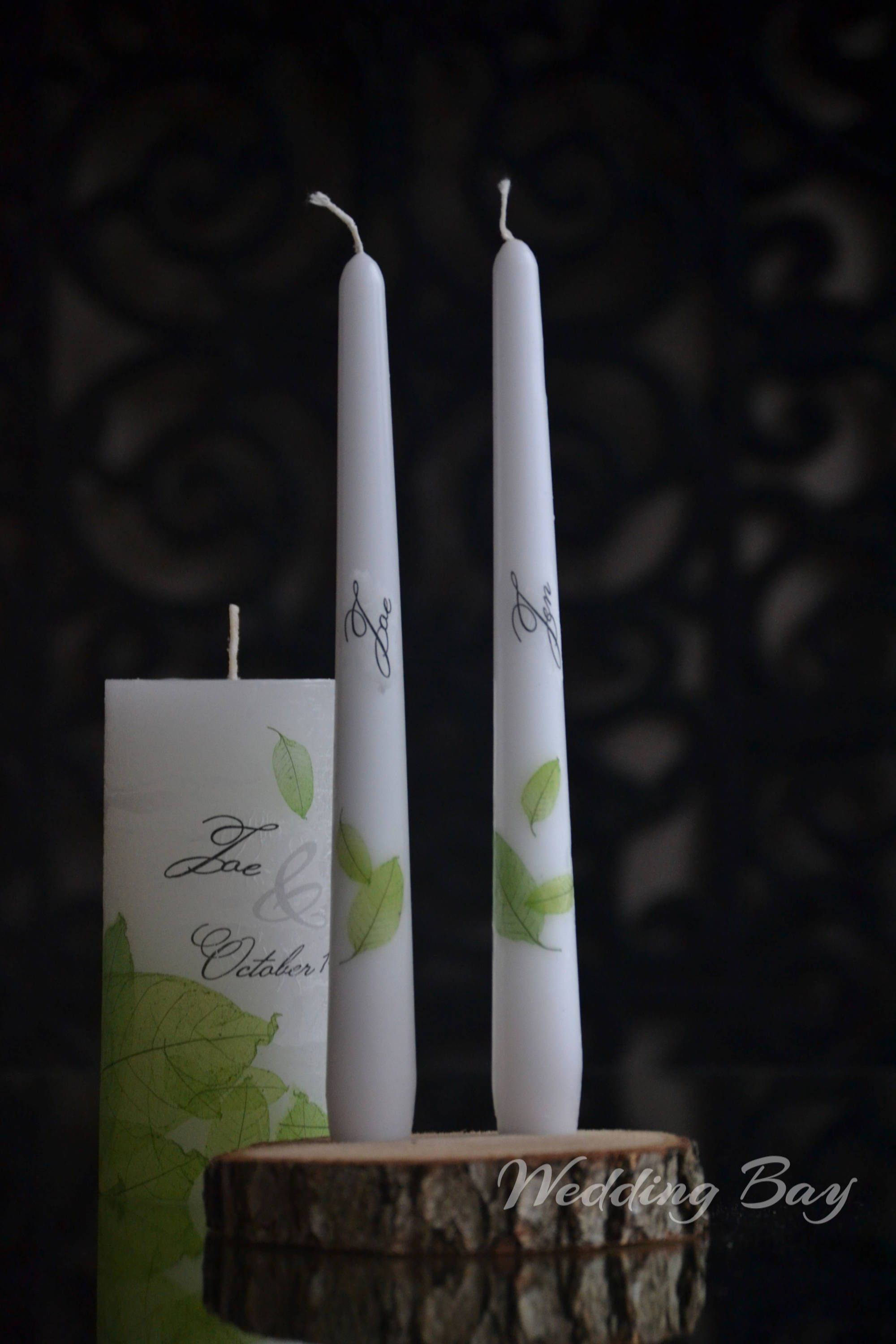 Wedding Candle Set Personalized Unity Custom Candles With Leafs