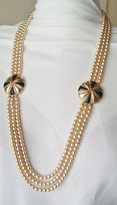 collier perle 3 rangs fantaisie
