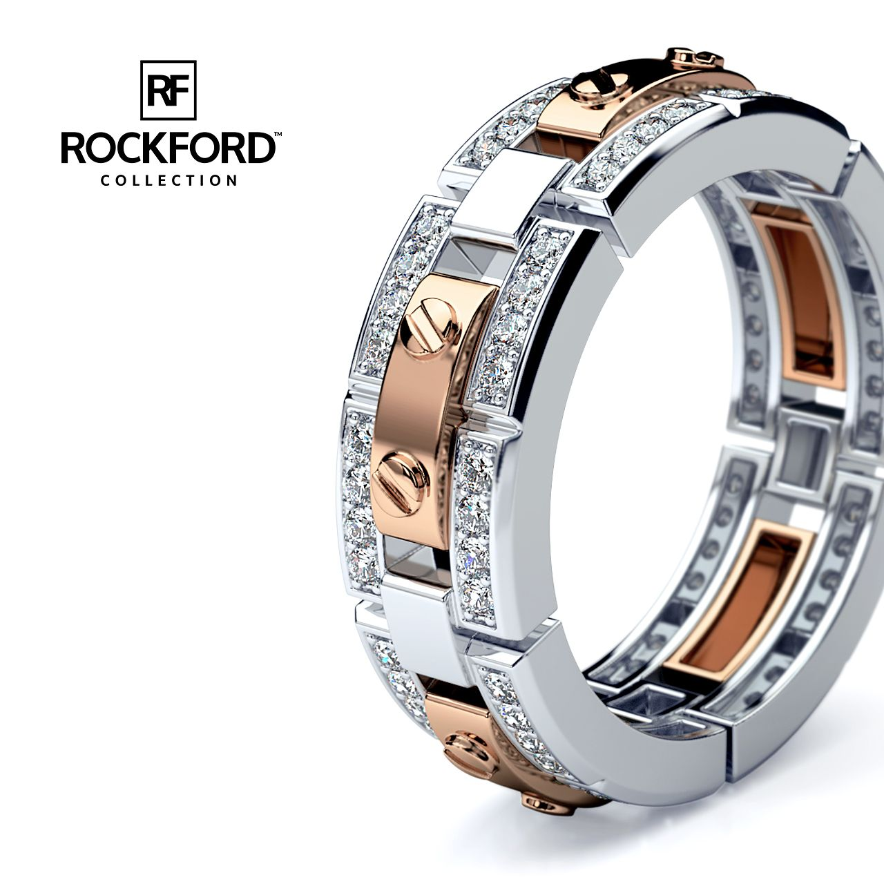 REX Mens TwoTone Gold Wedding Band with Diamonds I ️
