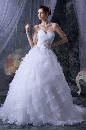 Herz-Ausschnitt Falte Mieder Organza Schnürrücken Prinzessin Sanduhr volle länge Brautkleid