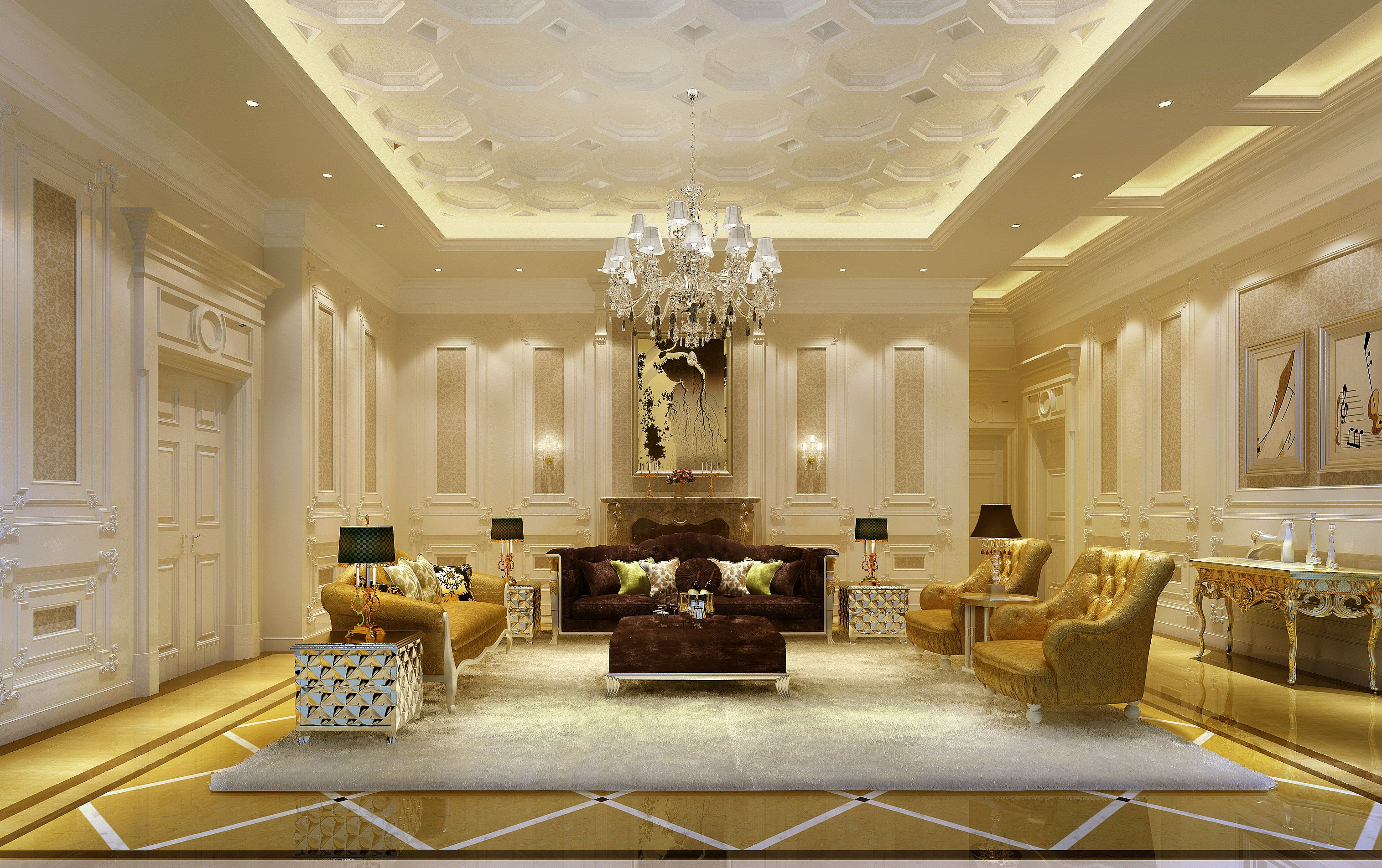 Luxury Living Rooms | Luxury Living Room 3d Model Living Room E109 3d Model  Luxury .