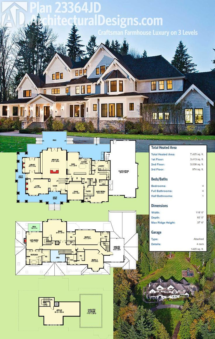 Architectural designs luxury craftsman farmhouse plan jd gives you levels of living if build out the top floor ready when are also unpack your dream house beautifulhouses beautiful houses rh pinterest