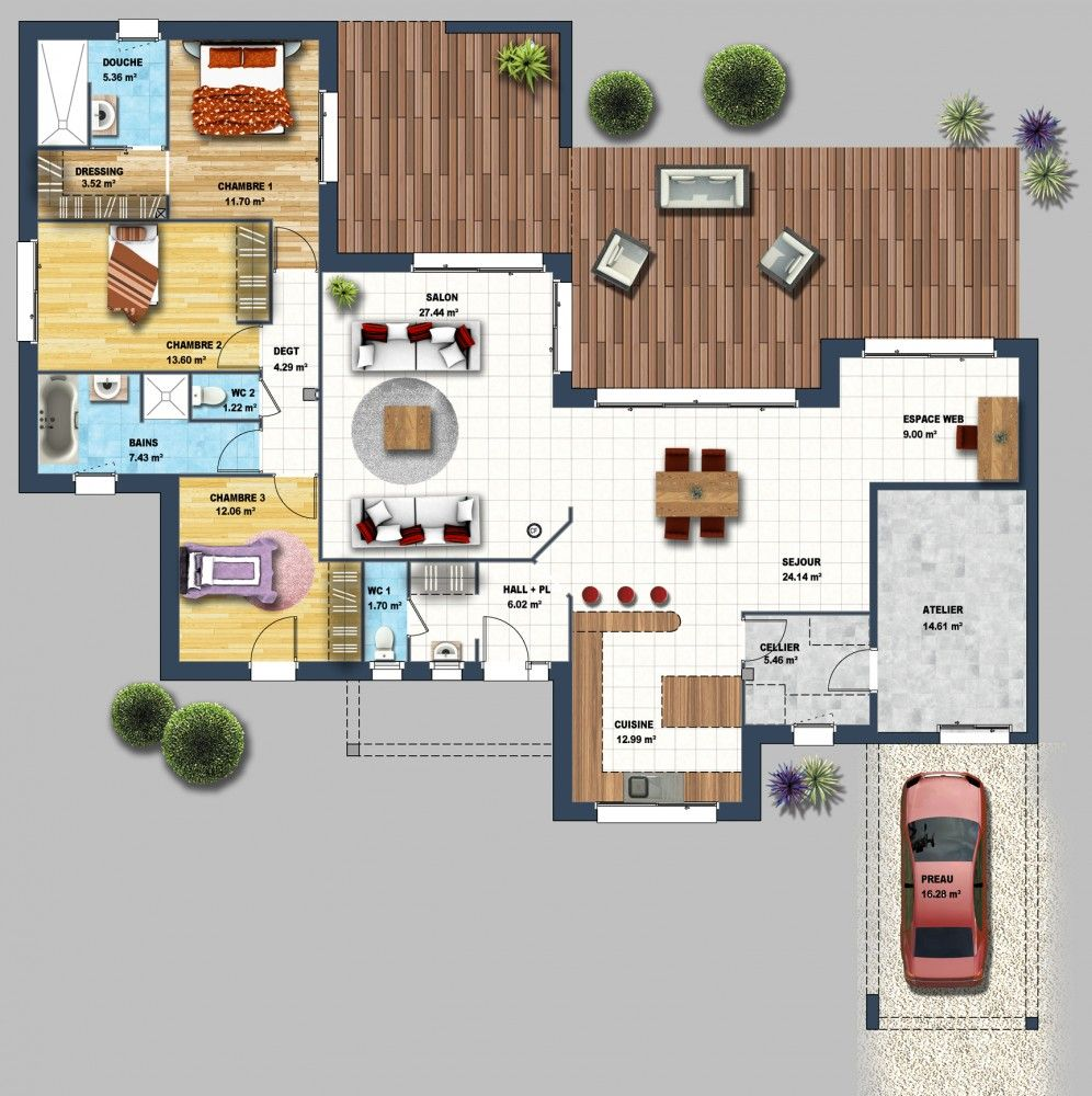 Constructeur maison moderne la baule les pins loire for Le plan de la maison