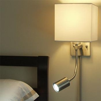 Costco: Wall Lamp with Adjustable LED Reading Light 2-pack | bed ...