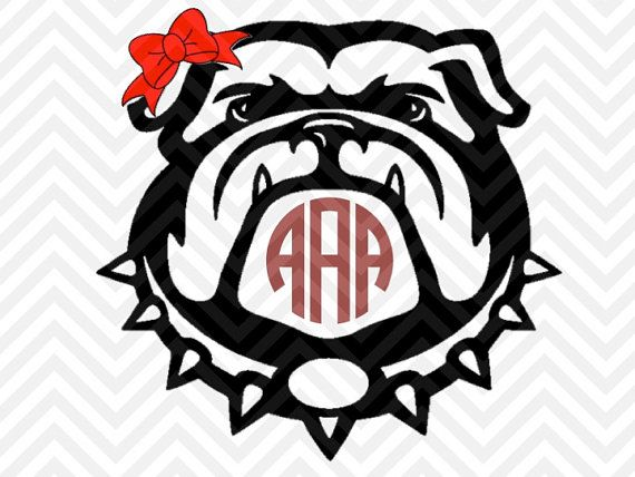 georgia bulldogs bow monogram (letters not included) svg cut file
