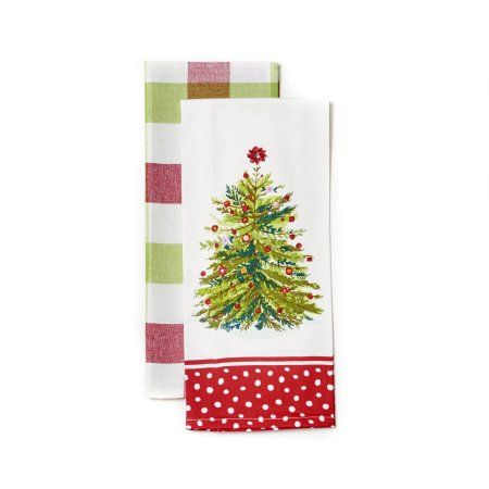 Pioneer Woman Holiday Tree 2 Pack Kitchen Towel Set 16x28