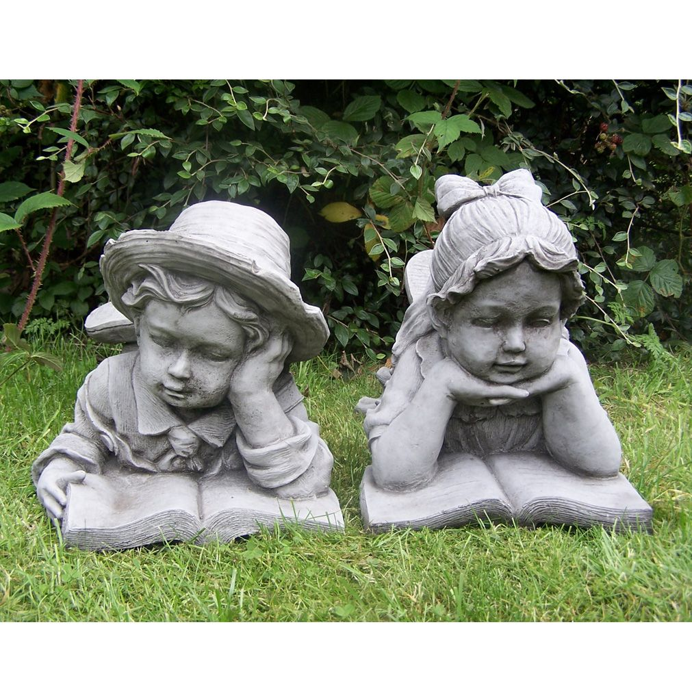 Exceptional This Adorable Pair Of Sweet Character Statues Displays A Girl And Boy, Each  Reading From